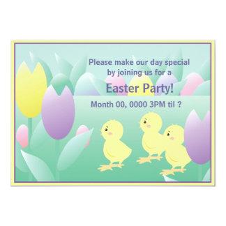 Easter Chicks Tulips Egg Party Invite