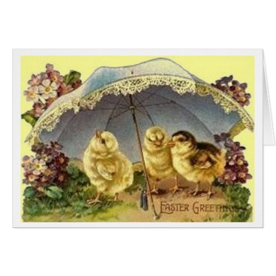 Easter Chicks Under Parasol Vintage Easter Card