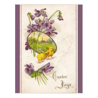 Easter - Chicks Violets Village Antique Postcard