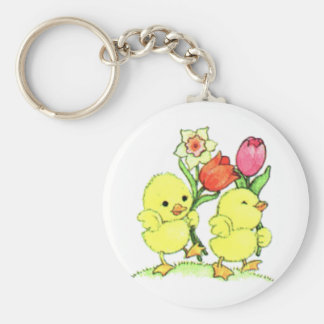 Easter Chicks With Flowers Key Ring