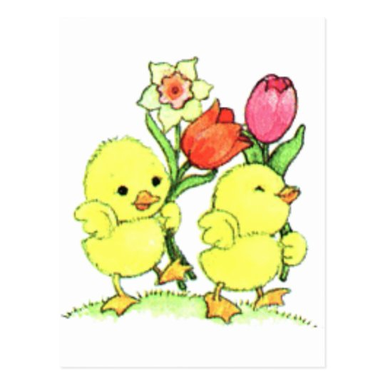 Easter Chicks With Flowers Postcard