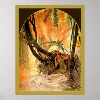Easter Chimes Awaken Nature ~ Alphonse Mucha Poster