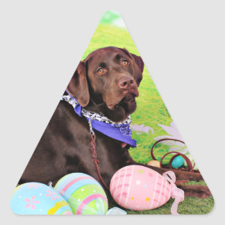 Easter - Chocolate Labrador - Hershey Triangle Sticker