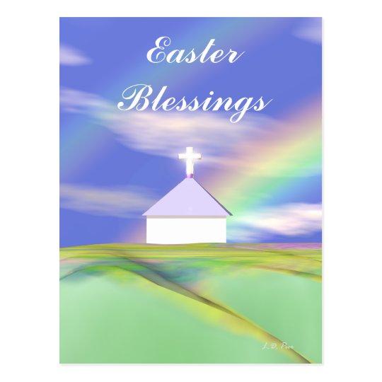 Easter Church and Rainbow Postcard