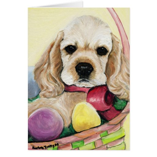 """Easter Cocker Spaniel Puppy"" Art Greeting Card"