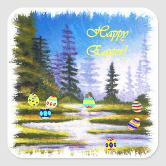 Easter Colored Eggs and Pine Forest Square Sticker