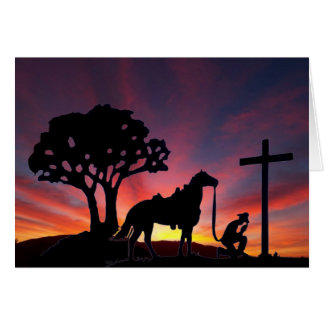 Easter Cowboy with horse at foot of the cross Card