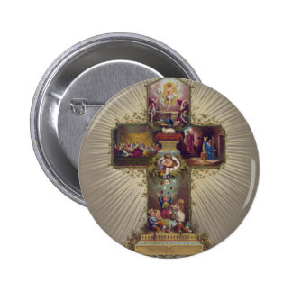 Easter Cross 6 Cm Round Badge