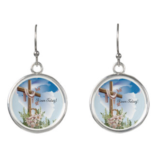Easter Cross Earrings Risen Today! Silver Tone