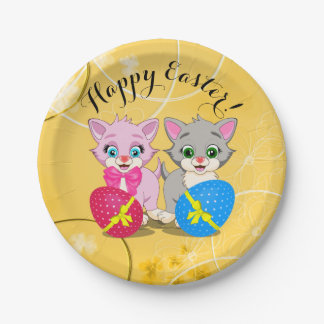Easter Cutie Grey and Pink Kittens Cartoon 7 Inch Paper Plate