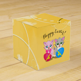 Easter Cutie Grey and Pink Kittens Cartoon Favour Box