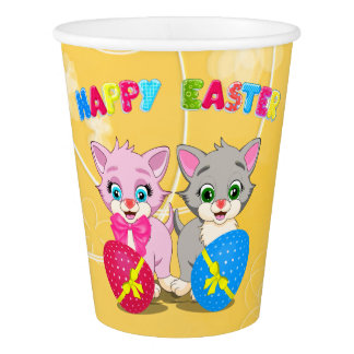 Easter Cutie Grey and Pink Kittens Cartoon Paper Cup