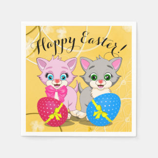 Easter Cutie Grey and Pink Kittens Cartoon Paper Napkins