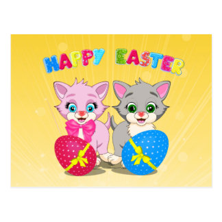 Easter Cutie Grey and Pink Kittens Cartoon Postcard