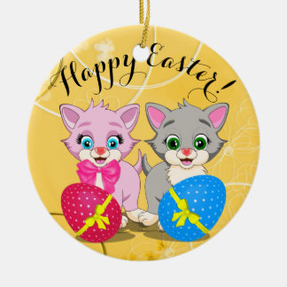 Easter Cutie Grey and Pink Kittens Cartoon Round Ceramic Decoration