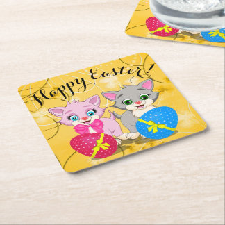 Easter Cutie Grey and Pink Kittens Cartoon Square Paper Coaster