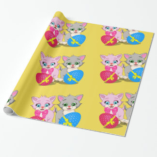 Easter Cutie Grey and Pink Kittens Cartoon Wrapping Paper