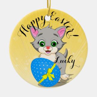 Easter Cutie Grey Kitten Cartoon Round Ceramic Decoration
