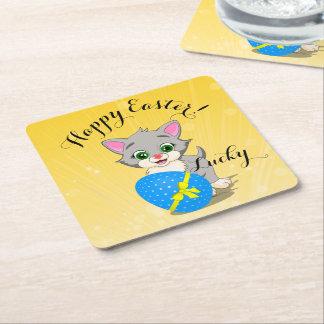 Easter Cutie Grey Kitten Cartoon Square Paper Coaster