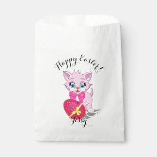 Easter Cutie Pink Kitten Cartoon Favour Bags