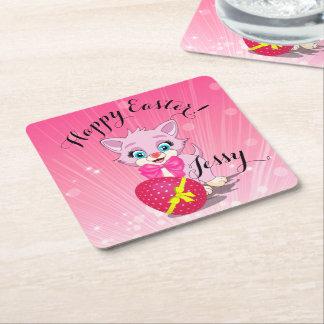 Easter Cutie Pink Kitten Cartoon Square Paper Coaster