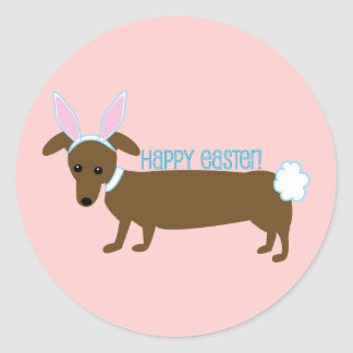 Easter Dachshund Bunny Stickers