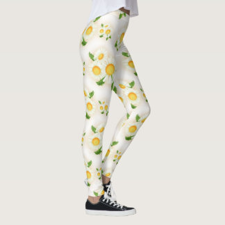 Easter Daisy floral pattern leggings