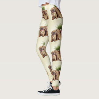 Easter Dogue de Bordeaux  puppies art leggings