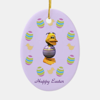 Easter Duck Ceramic Oval Decoration