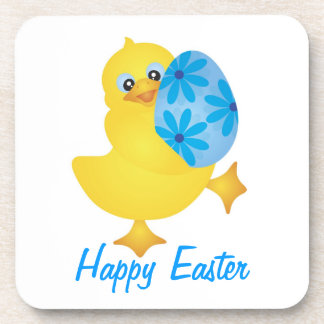 Easter Duckling with Blue Egg Cork Coaster