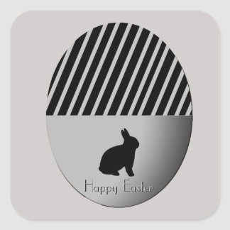 Easter Egg Bunnies Black n Silver Square Sticker