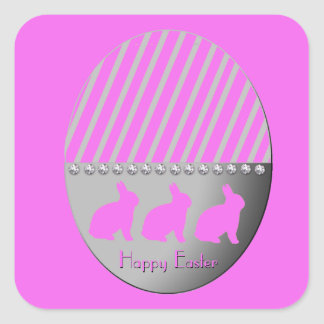 Easter Egg Bunnies Pink Square Sticker