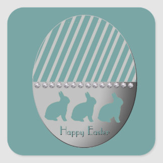Easter Egg Bunnies Turquoise Square Sticker