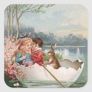 Easter Egg Bunny Boat Young Couple Landscape Square Sticker
