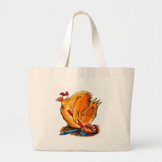 easter egg caricature chicken paints his own eggs jumbo tote bag