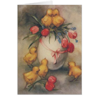 Easter Egg Chick Tulip Forget Me Not Greeting Card