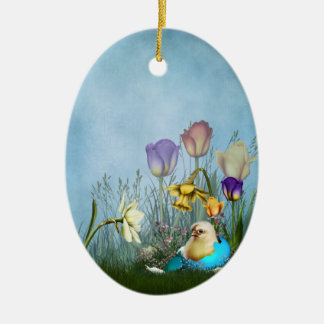 Easter Egg Chicken Ceramic Oval Ornament