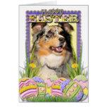 Easter Egg Cookies - Australian Shepherd Greeting Card