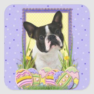 Easter Egg Cookies - Boston Terrier Square Sticker