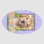 Easter Egg Cookies - Golden Retriever - Corona Oval Stickers