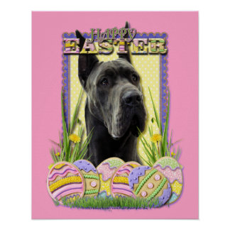 Easter Egg Cookies - Great Dane - Grey Poster