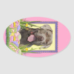 Easter Egg Cookies - Mastiff Oval Sticker