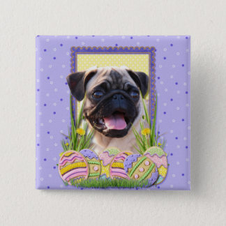 Easter Egg Cookies - Pug 15 Cm Square Badge