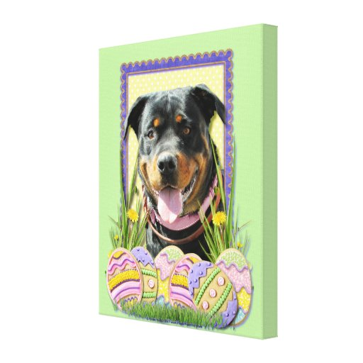 Easter Egg Cookies - Rottweiler Gallery Wrap Canvas