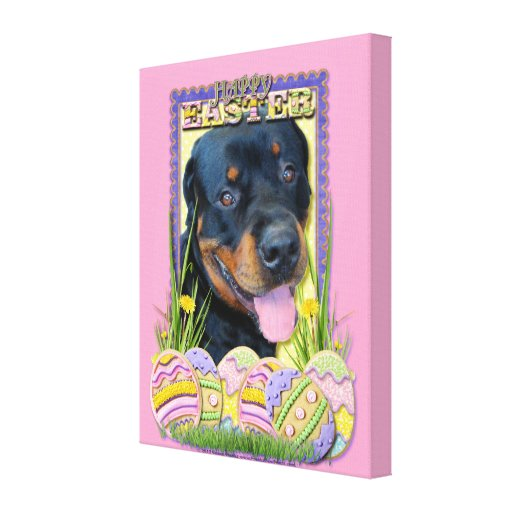 Easter Egg Cookies - Rottweiler - Harley Stretched Canvas Print