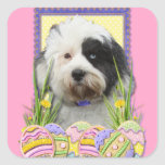 Easter Egg Cookies - Tibetan Terrier Square Stickers
