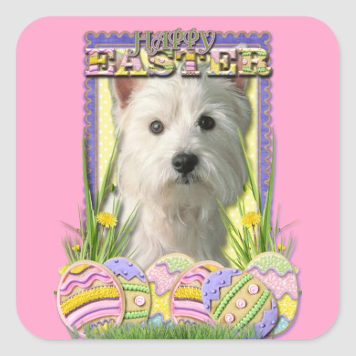 Easter Egg Cookies - West Highland Terrier Square Sticker