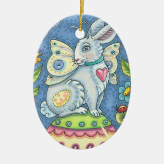 EASTER EGG FAIRY, RABBIT ORNAMENT Oval