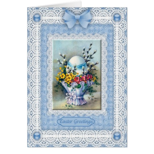 Easter Egg, Flower Basket 'n Lace Greetings Card
