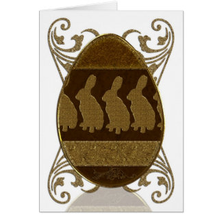 Easter Egg, Golden Easter Egg With Rabbits Greeting Card